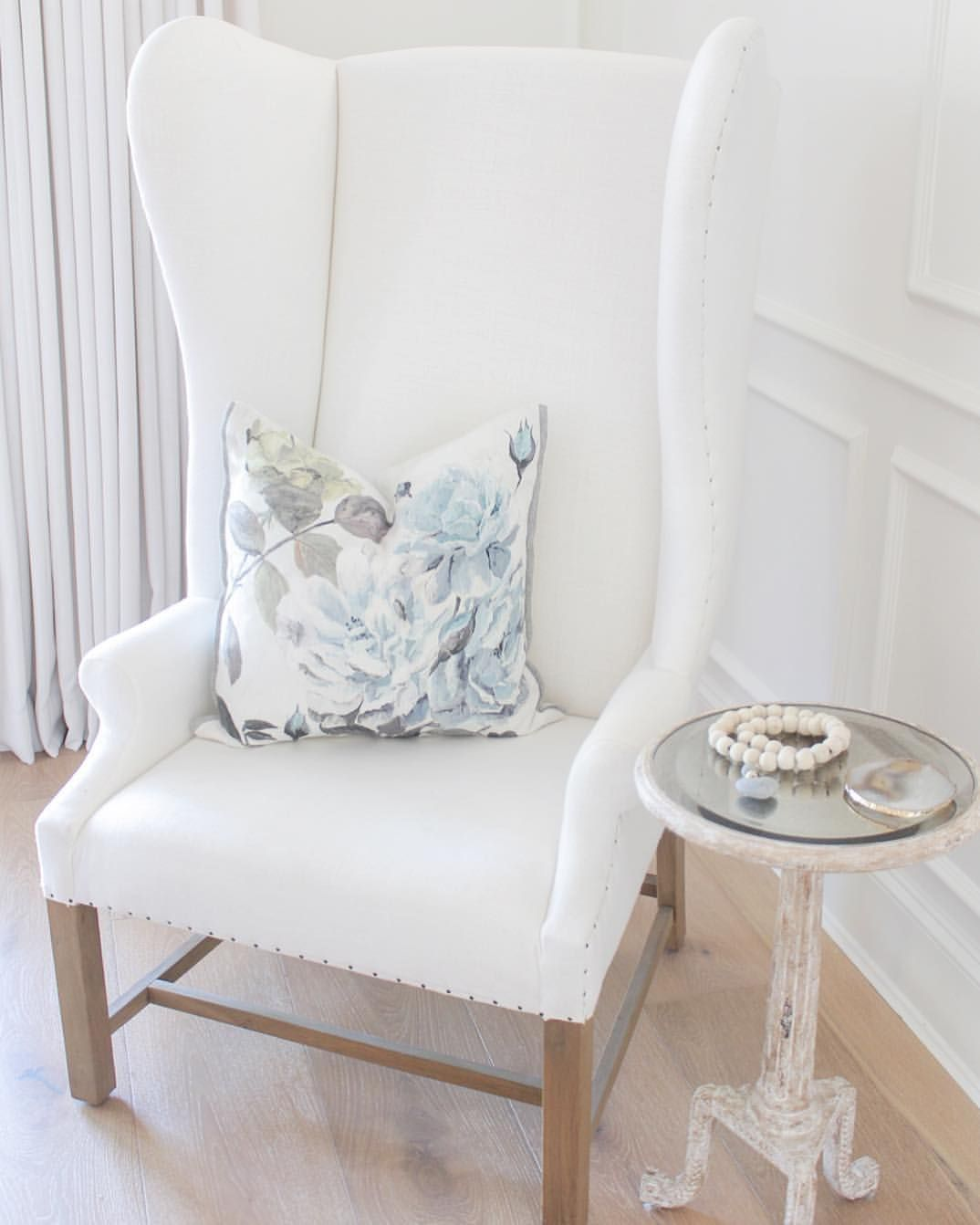 jshomedesign Wingback chair Floral pillow | Fab Decor & Design ...