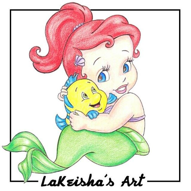 colored pencil drawing of baby ariel and baby flounder