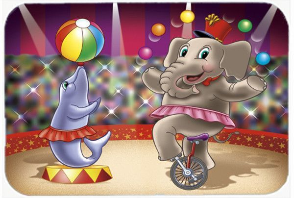 Circus Elephand and Dolphin Mouse Pad, Hot Pad or Trivet APH3816MP