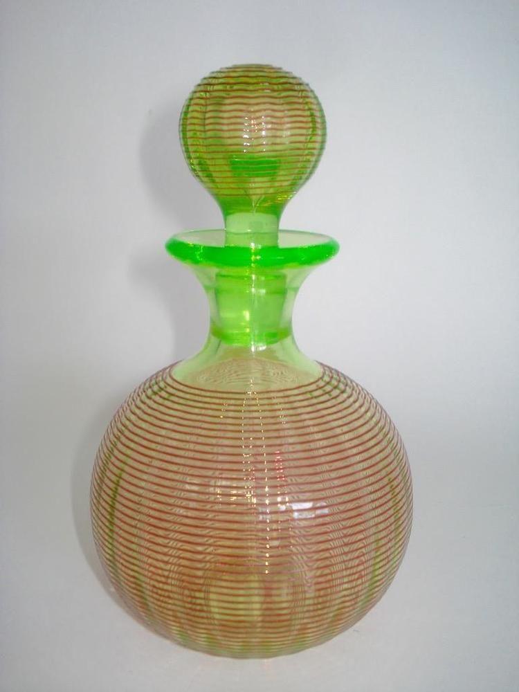 Rare Antique Stevens Williams Vaseline Threaded Art Glass