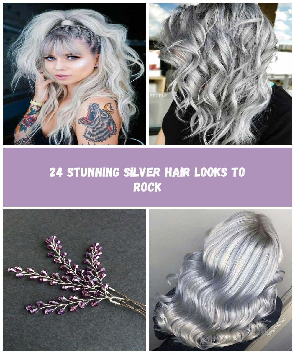 Long Silver Hair With Ponytail Hairstyle ponytail bangshaircut ...