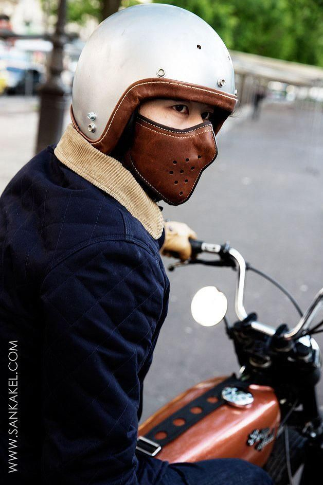 Masque moto en cuir - SLIM LEATHER MASK - Sankakel