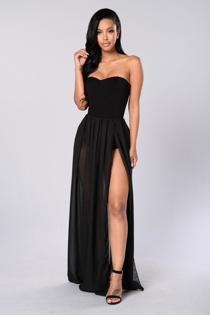 3e8c81f0427 Available in Black - Strapless Maxi Dress - Attached Bodysuit - Mesh Skirt  Bottom - Front Side Slit - Made in USA - 95% Rayon 5% Spandex