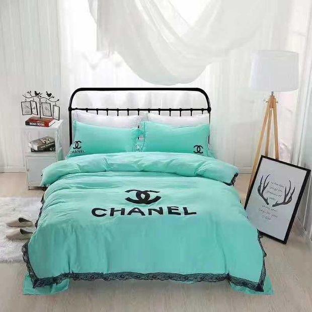 Chanel Duvet Cover Blanket Quilt Coverlet Pillow Shams 4 Pc Bedding Set Avec Images Draps De Lit Draps Lit