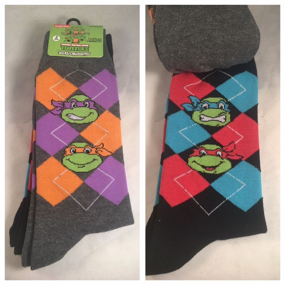 4ad885f40f0d 2 Pair Ninja Turtles Dress / Casual Socks #Hyp #TMNT #ninjaturtles #socks  #giftideas #mensfashion