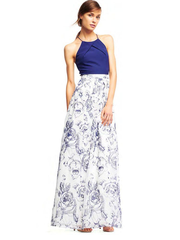 Aidan By Aidan Mattox Sleeveless Floral Evening Gown, Ivory/Blue ...