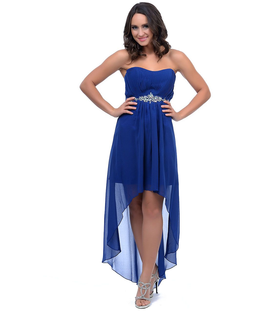 Blue high low semi formal dresses