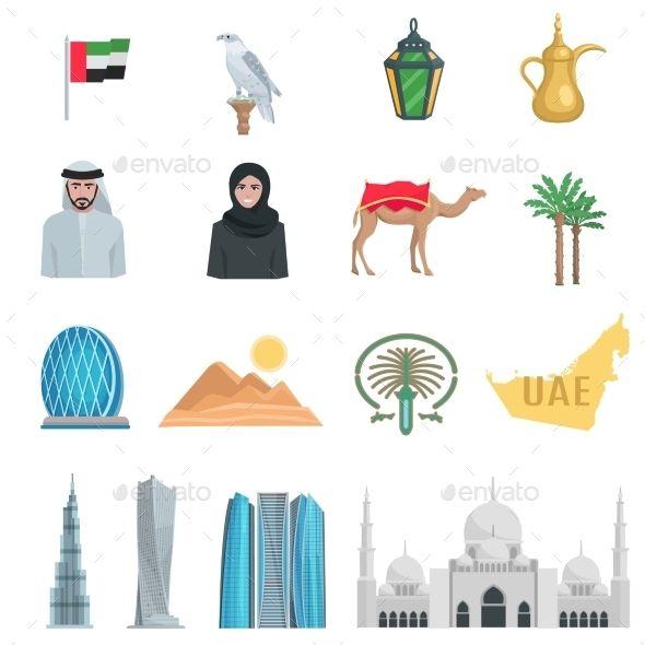 United Arab Emirates Flat Icons Vector Illustration