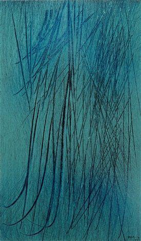 Hans Hartung (French/German, 1904–1989), T1964-H16, 1964, Acryl auf Leinwand, 55 x 33 cm. (21.7 x 13 in.)