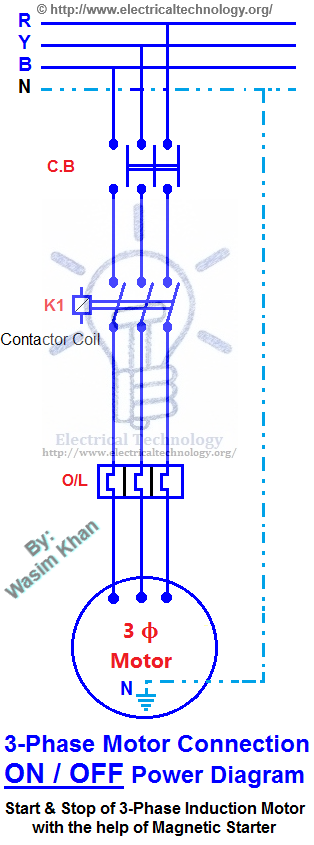on off three phase motor connection control diagram. Black Bedroom Furniture Sets. Home Design Ideas