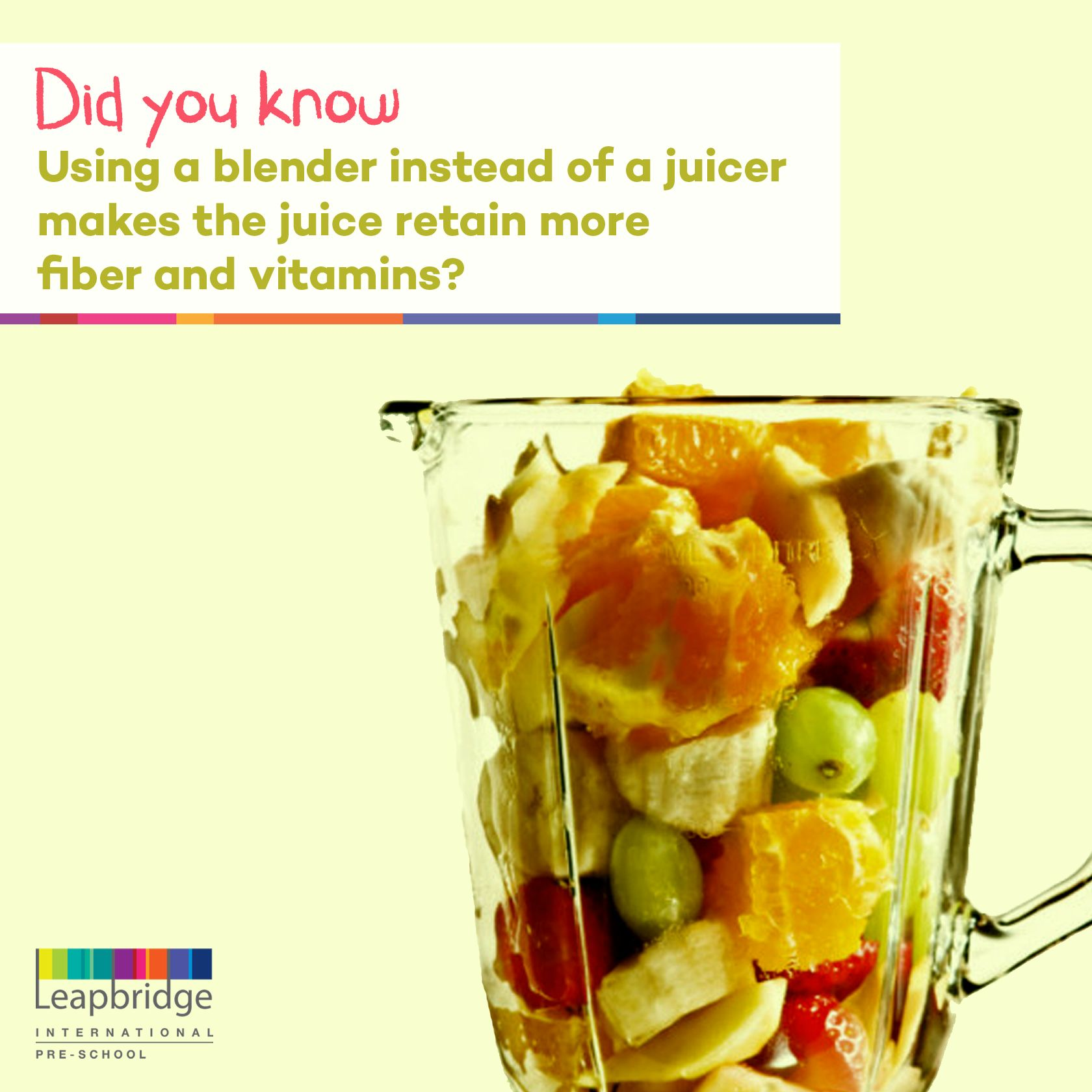 Use a blender instead of a juicer when making fruit juice this summer. It's healthier. Follow us for more such interesting posts! Feel free to comment and add thoughts or suggestions!