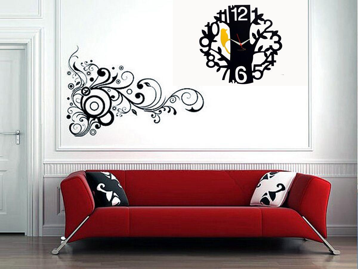 1 To 12 Black Panache Designer Wall Clock Artistryc Modern