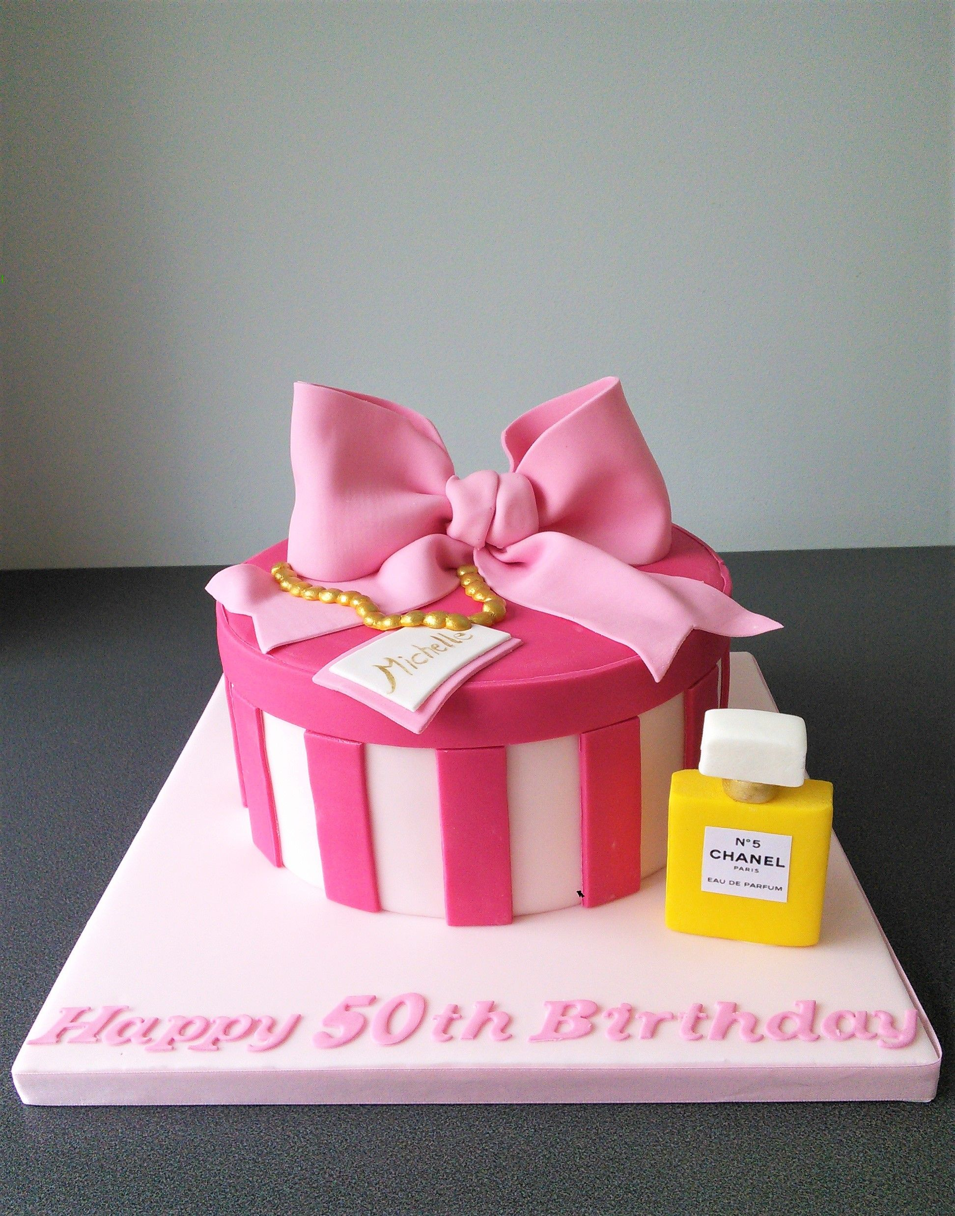 50th Pink Hat Box With Chanel Perfume Bottle Cake Ideas