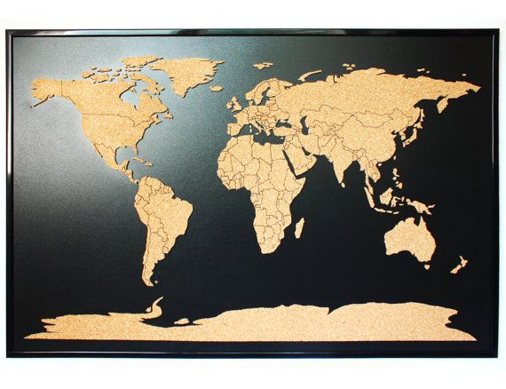 World map push pin corkboard with countries outlined cork sales map world map push pin corkboard with countries outlined cork sales map with frame cork gumiabroncs Image collections