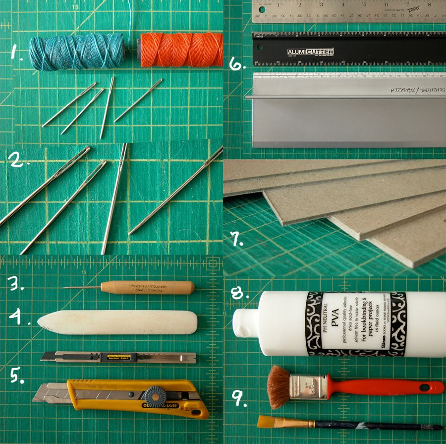 Tools 1. Waxed linen thread (for sewing the binding