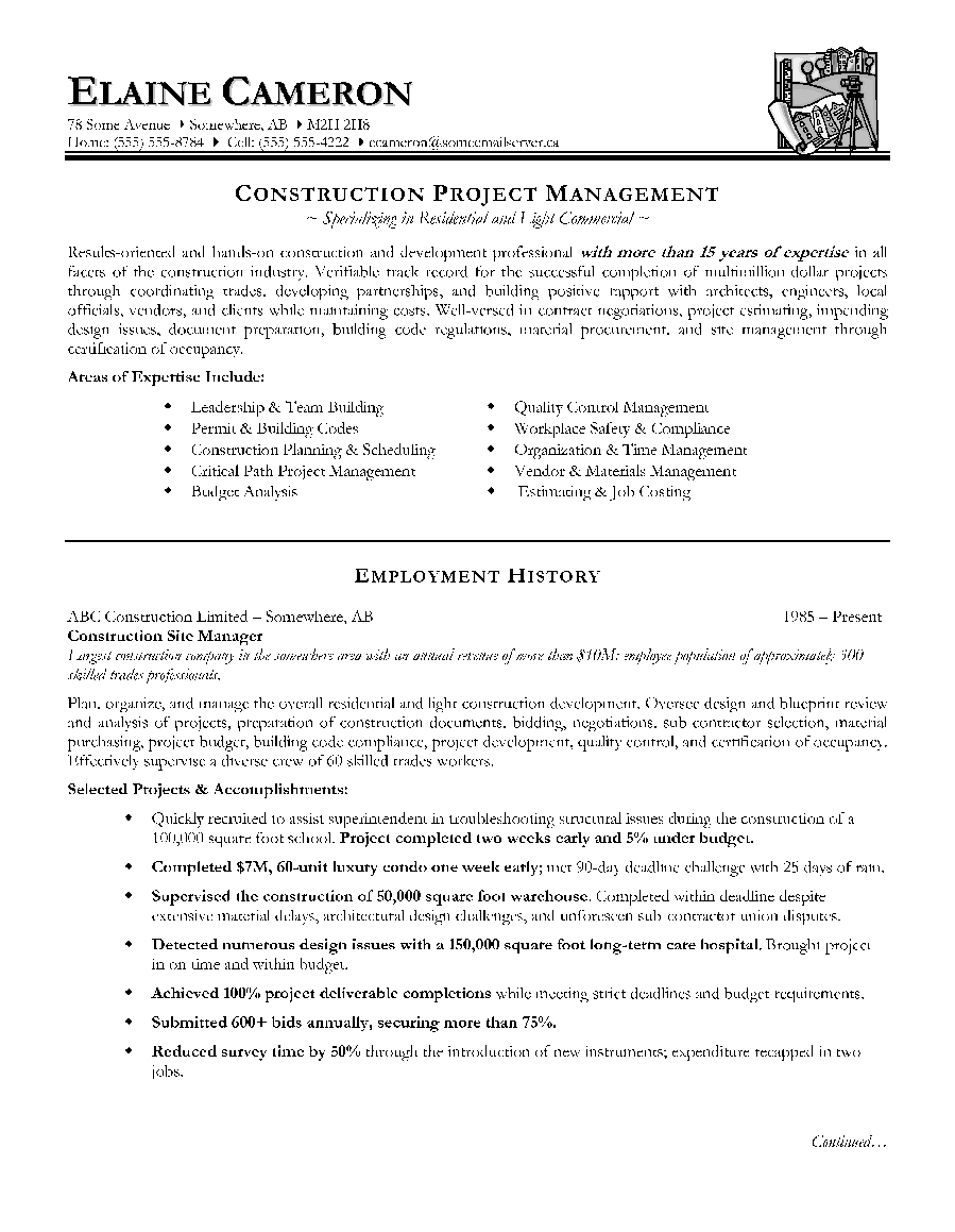 Construction Manager Resume Page 1 Construction Project