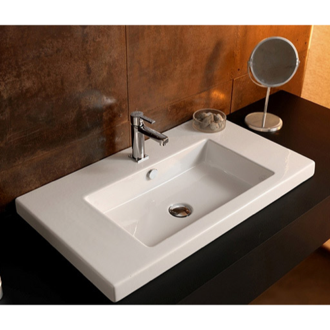 Curved Rectangular White Ceramic Wall Mounted Or Vessel Bathroom