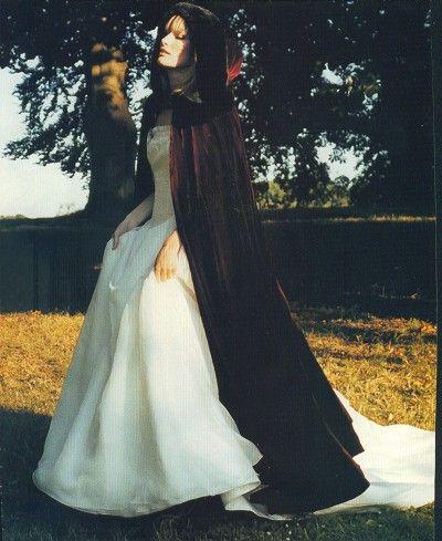 White Wedding Dress With Black Velvet Hooded Cape So Romantic Punk
