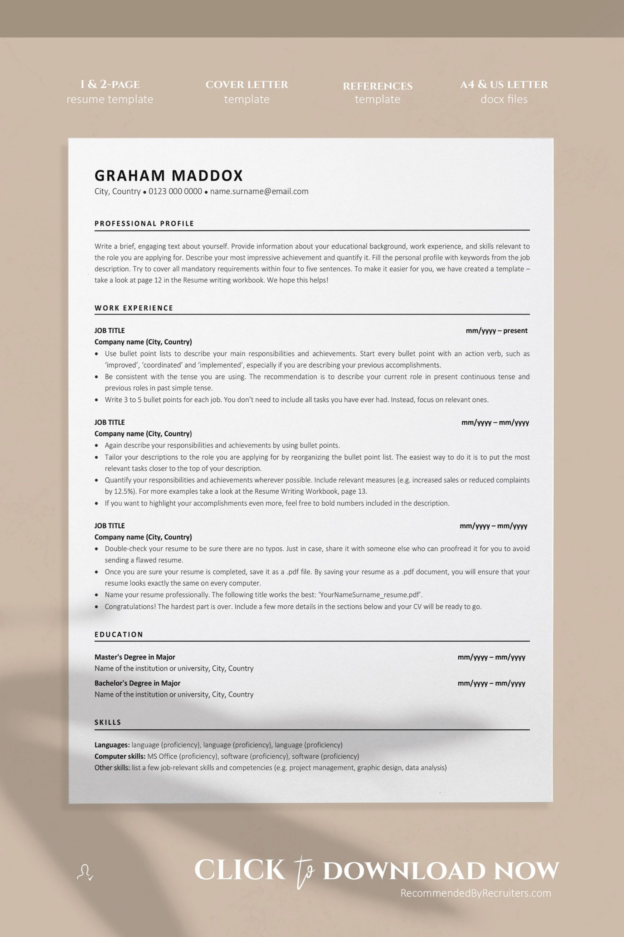 Ace Classic Cv Template Word Resumekraft For Microsoft Word Resume Template Free In 2020 Resume Template Word Free Resume Template Word Resume Template Free
