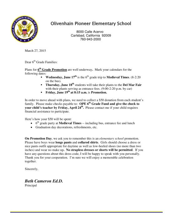Th Grade Promotion Letter  Parent Groups  School   Th Grade