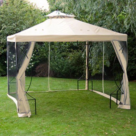 Ivory 2 Tier Patio Sun Shade 10x10 Ft Gazebo Top Replacement With Mosquito Netting 89 99 Grommets To Ensure Proper W Canopy Outdoor Gazebo Patio Sun Shades