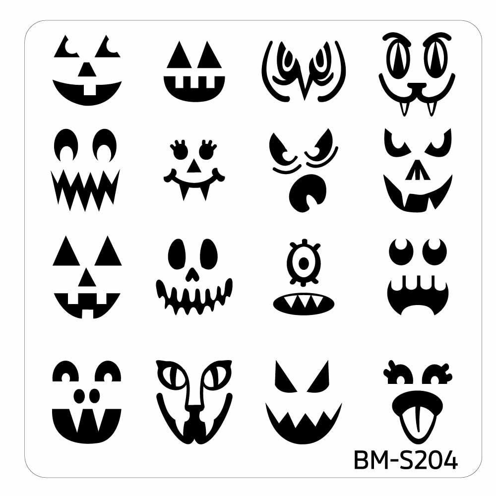 Halloween Square Nail Art Stamping Plates - BM-S204, The Many Faces ...