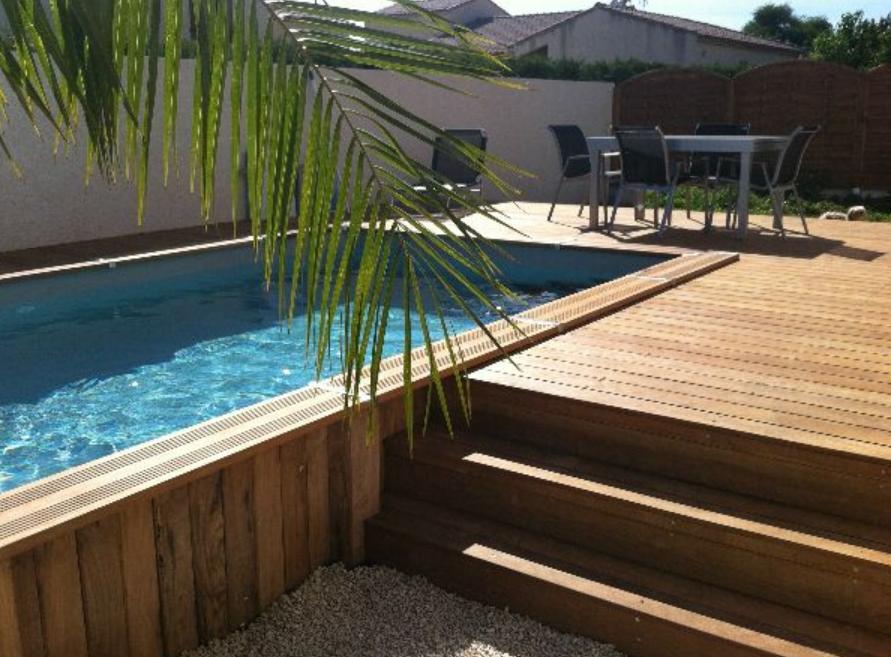 Piscine semi enterr e en tek en 2019 piscine semi - Hivernage piscine bois semi enterree ...