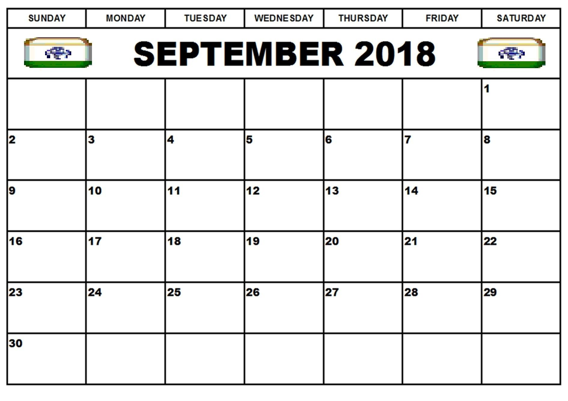 September 2018 Calendar India September Calendar Monthly