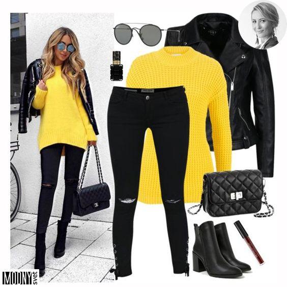 Čierny outfit so žltým svetrom v roku 2019  b848333178b