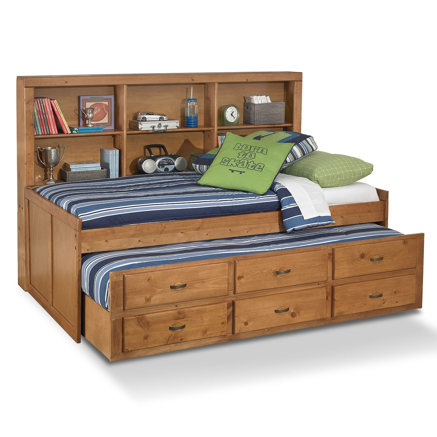 Varsity Pine Ii Kids Furniture Twin Daybed With Trundle Furniture Com Kids Daybed Kids Furniture Stores Childrens Bedroom Furniture
