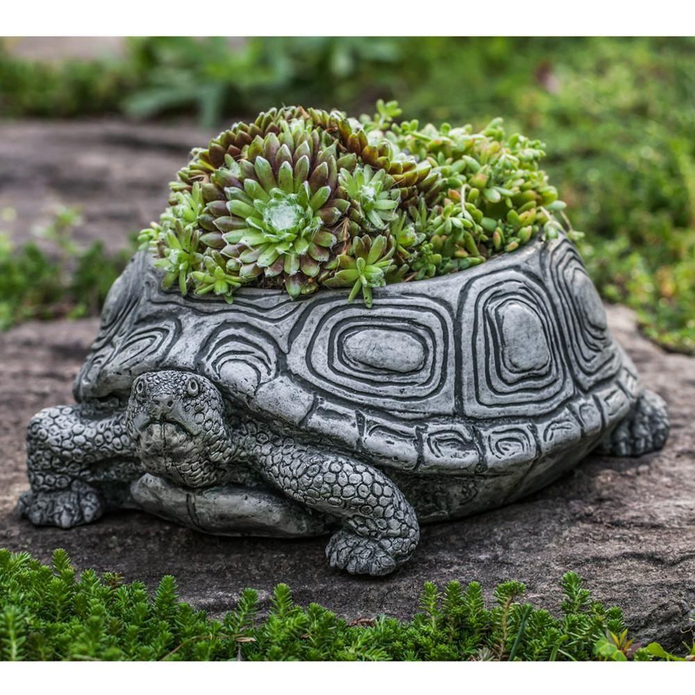 Turtle Cast Stone Garden Planter   Small
