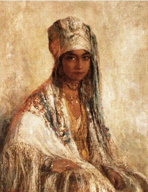 Algerie- Peintre Belge ,Edouard VERSCHAFFELT (1874-1955) ,huile sur toile ,  Titre   Jeune femme au chale 5ba01ee0413