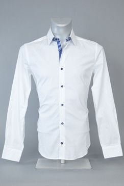 Blaq Slim Fit Apps Self Stripe White Shirt - With Blue Buttons ...