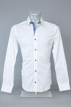 25c06a972c1e29 Blaq Slim Fit Apps Self Stripe White Shirt - With Blue Buttons, Collar &  Cuff