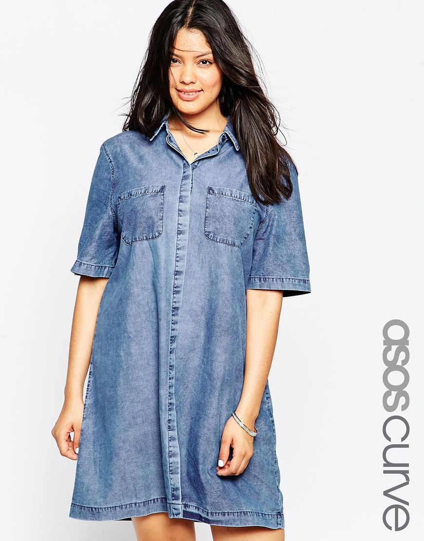 04a70c4a6f Image 1 of ASOS CURVE Denim Shirt Dress with Patch Pockets in Light Mid Wash