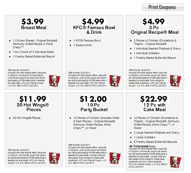 picture regarding Kfc Coupons Printable identify Present-day KFC Coupon codes March 2013 KFC Printable Discount codes 2013