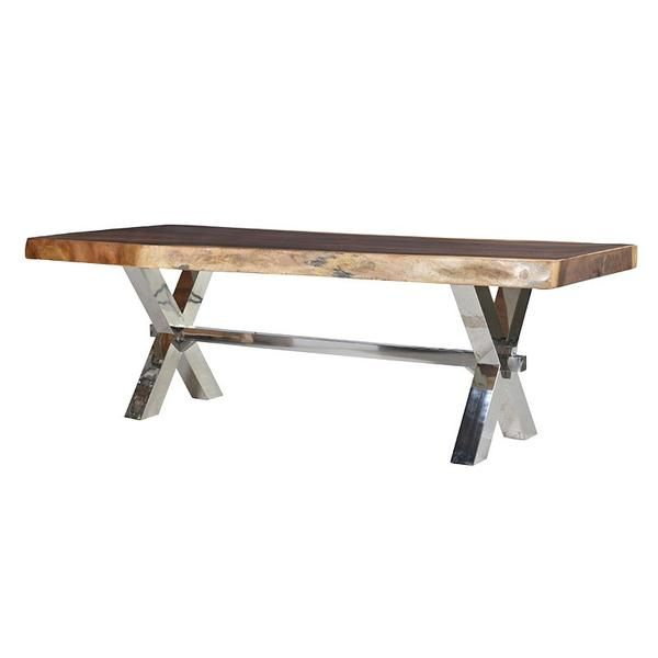 Large Wood Slab Dining Table With Chunky Chrome Legs