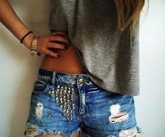 Put studs on an old pair of jeans or jean shorts.