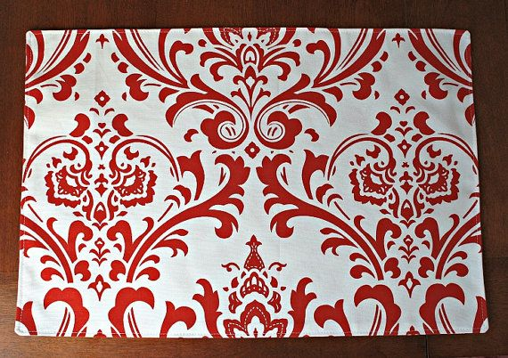 Christmas Holiday Placemats  Christmas red by PrettyPillowsDecor, $52.00
