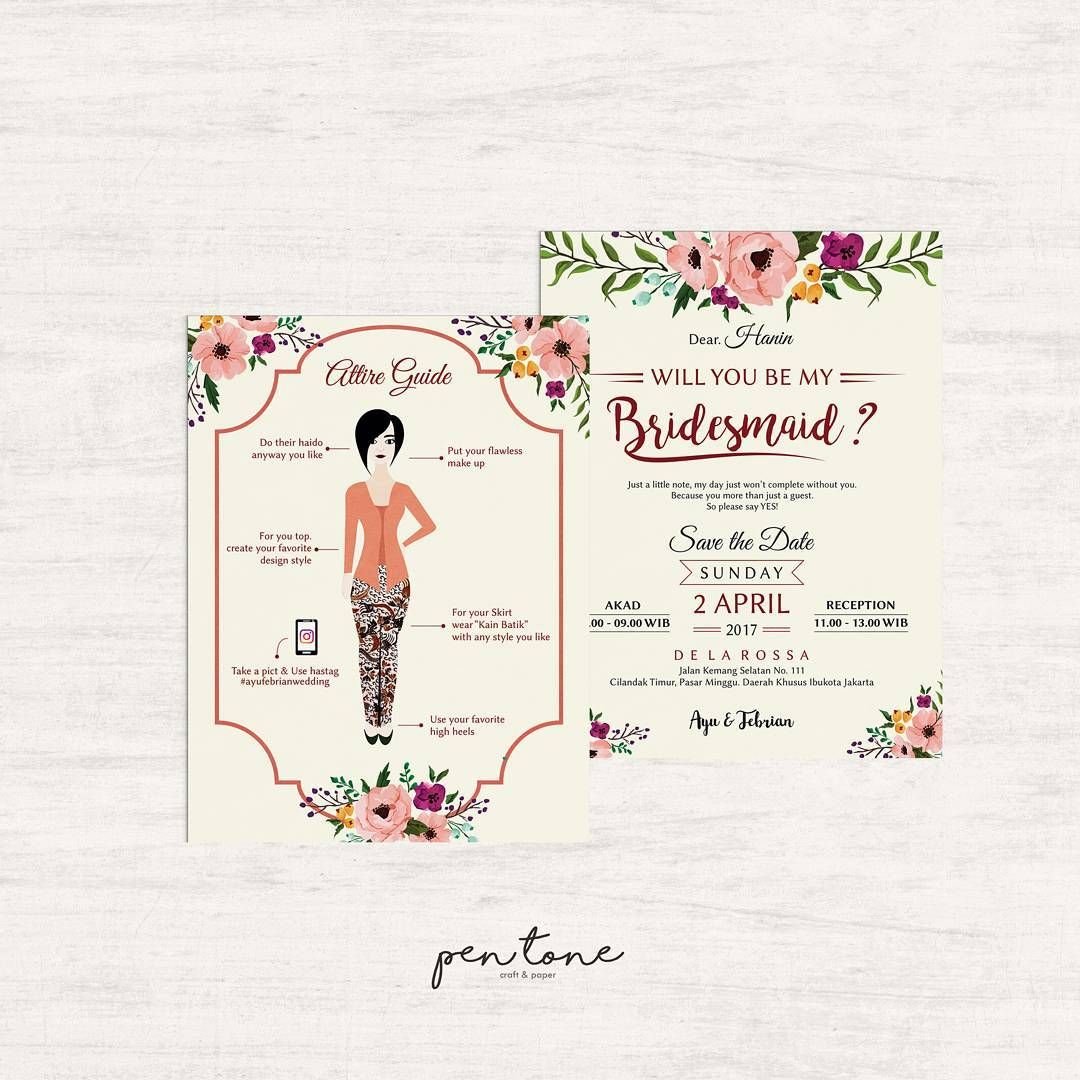 Inspirasi Desain Bridesmaid Card Tradisional Jawa Dengan