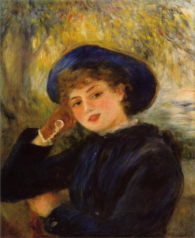 Mademoiselle Demarsy (Woman Leaning on Her Elbow), 1882  Pierre-Auguste Renoir