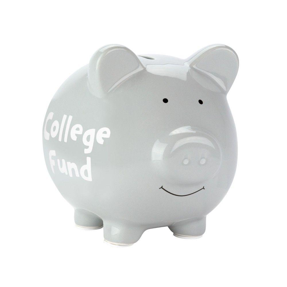 Pearhead Decorative Ceramic Piggy Bank Gray Color Silver