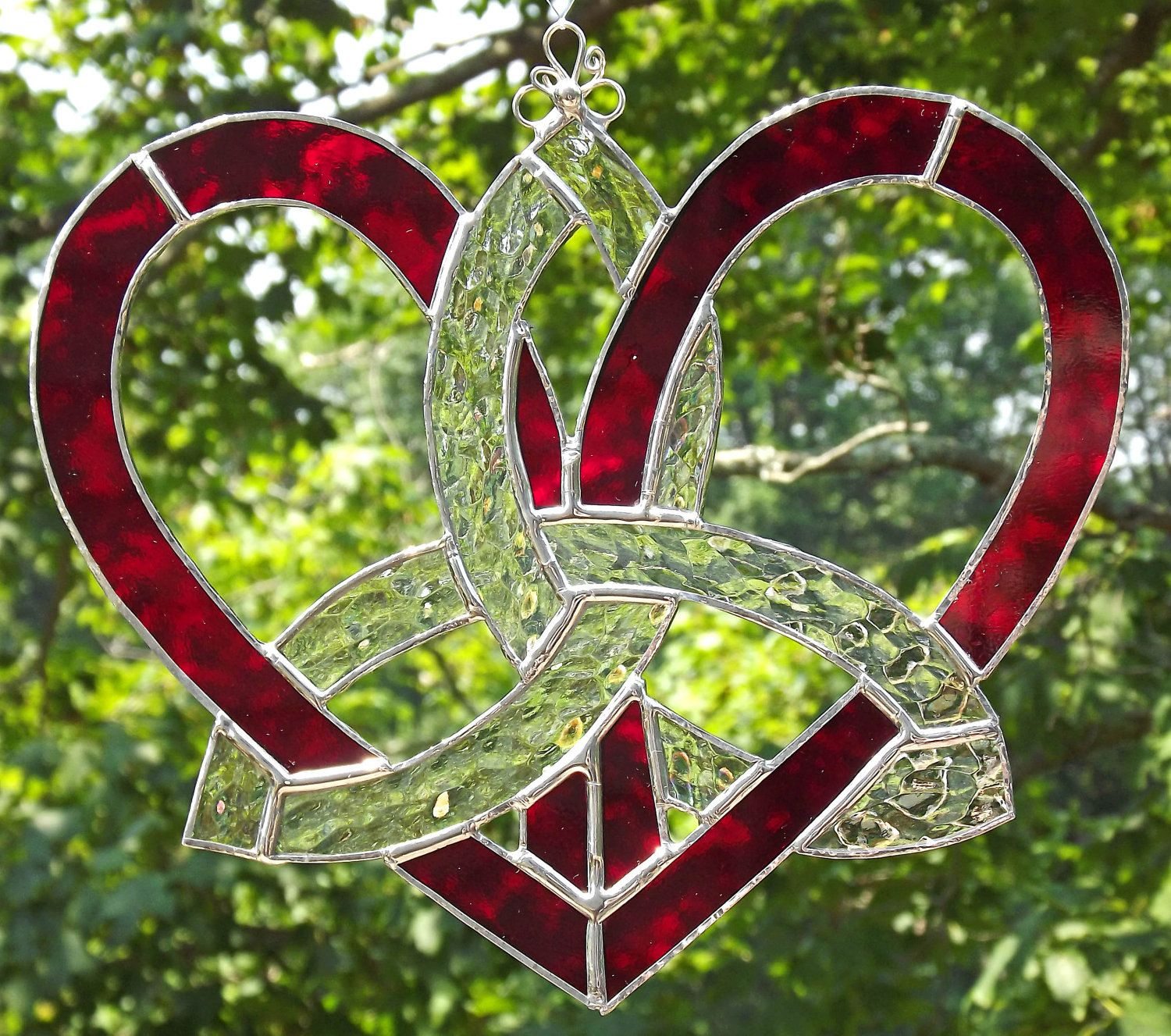 Celtic Stained Glass Mother's Heart Suncatcher Red ...