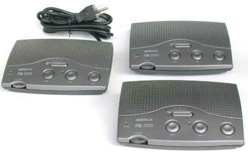 Black Intertalk FM413 Advanced 3-wire 3 Channel Home & Office FM Wireless Intercom Power line System for 110volts by Intertalk®. $63.90. - FM circuitry provides clear, reliable reception and transmission - CALL button to signal other stations - Convenient front rotary power ON/OFF volume control - Unit size : Approx. 6.69 x 4.13 x 1.78 inches (170 x 105 x 45 mm) - Working voltage : AC 120 voltage AC outlet only What's in white box : * Instruction manual * 3 station units IM...