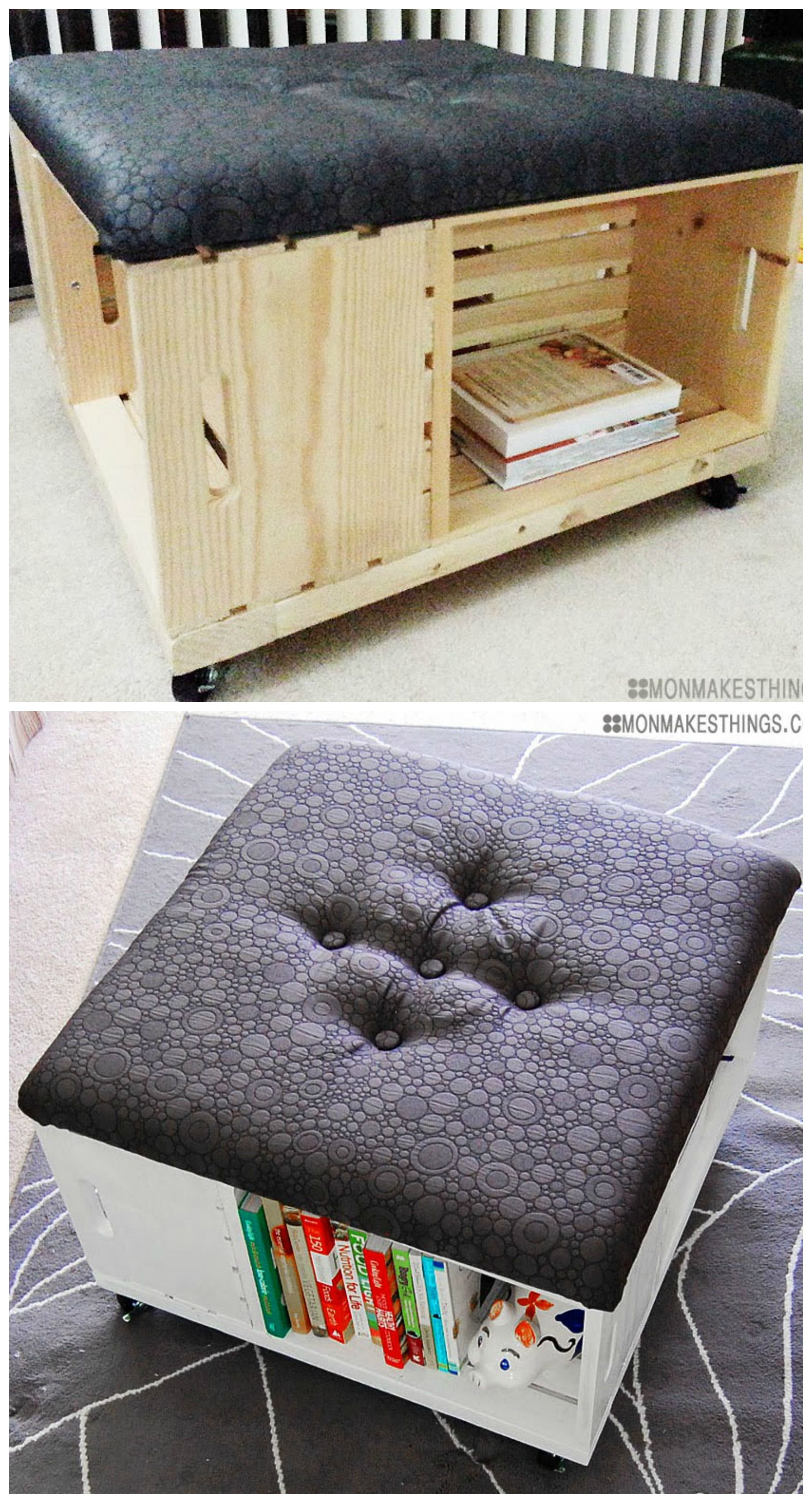 DIY Storage Ottoman made of wooden crates