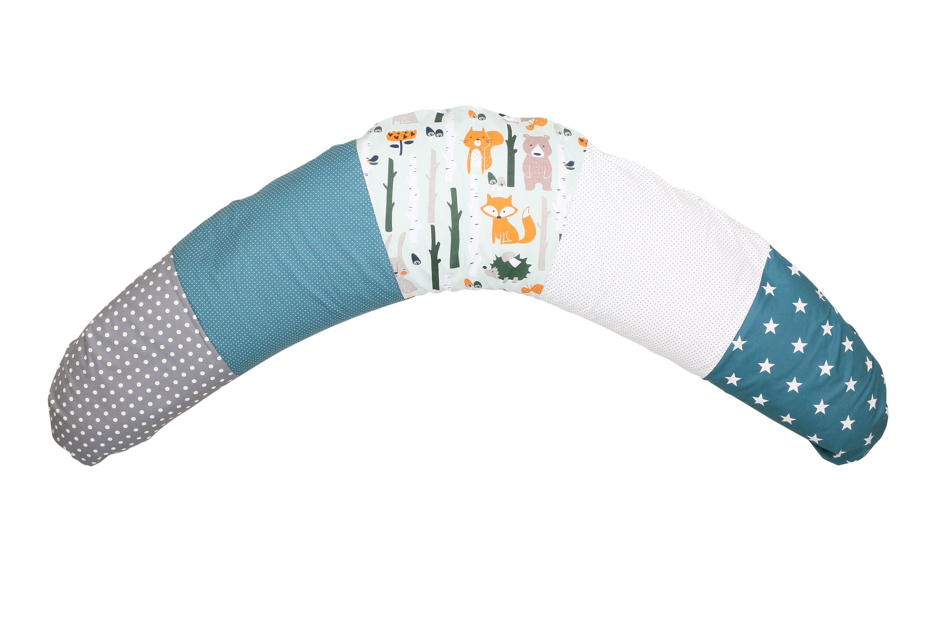 """Organic Nursing Pillow – Best Pregnancy Pillow for Side Sleepers, Woodland Animals Teal, 75"""" x 15"""" - Default Title"""