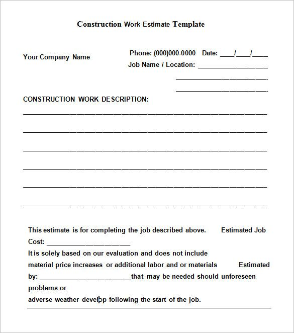 5 construction estimate templates free word excel pdf