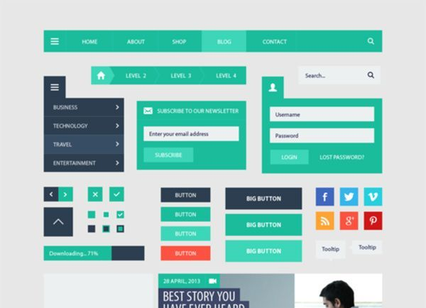 50+ Flat UI Kits for Download