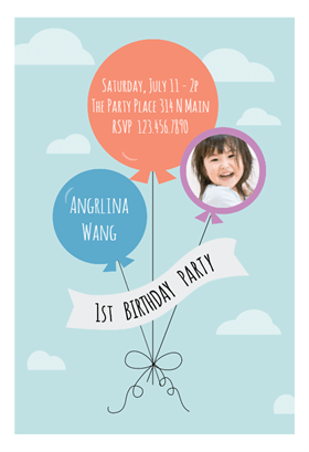 """Birthday Soaring Balloons""  printable invitation template. Customize, add text and photos. Print or download for free!"