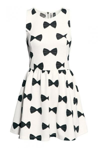 Black Bow Tie Print Sleeveless A-line White Mini Dress